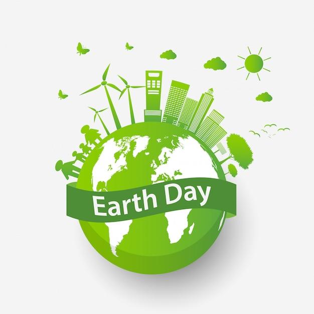 Ökologisches stadtkonzept und umwelt mit umweltfreundlichen ideen Premium Vektoren