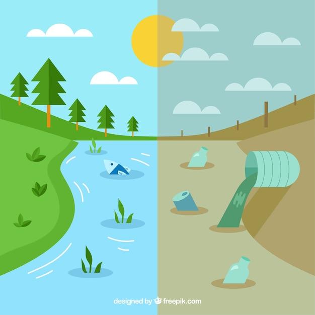 Ökosystem- und verschmutzungskonzept Kostenlosen Vektoren