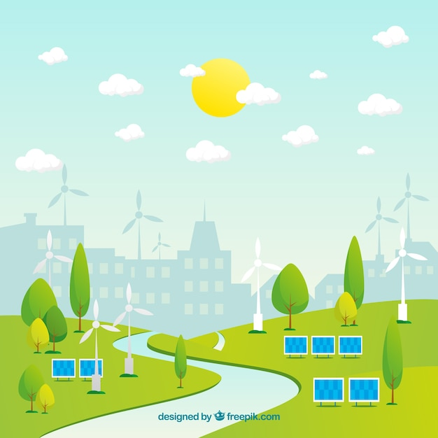 Ökosystemkonzept mit stadthintergrund Kostenlosen Vektoren