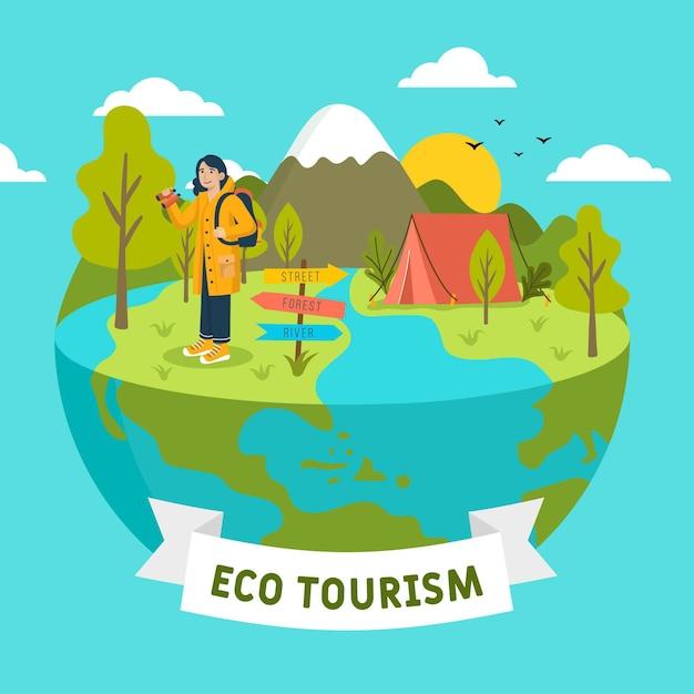 Ökotourismuskonzept mit globus Kostenlosen Vektoren