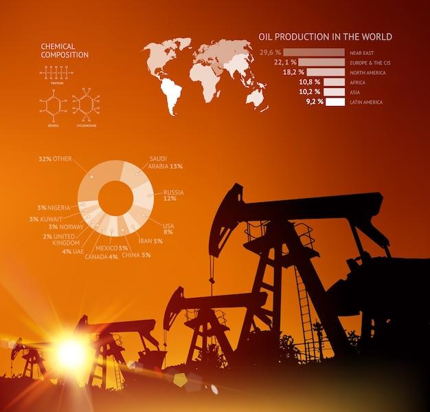 Öl derrick infografik mit pfeillinie. Kostenlosen Vektoren