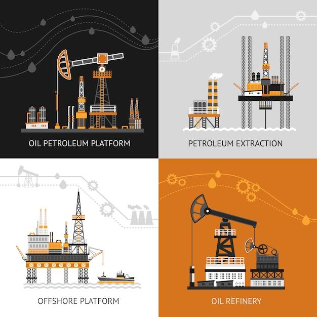 Öl-petroleum-plattform-set Premium Vektoren