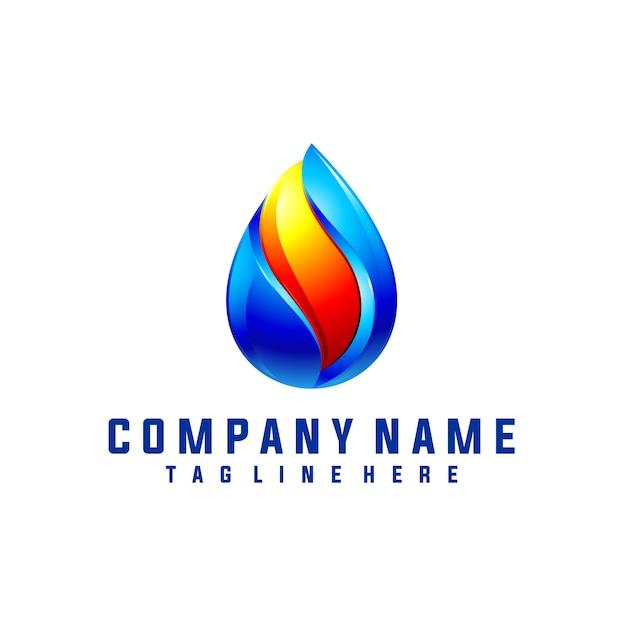 Öl und gas logo design mit 3d-look Premium Vektoren