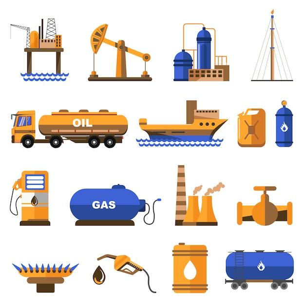 Öl- und gasikonen eingestellt. Premium Vektoren