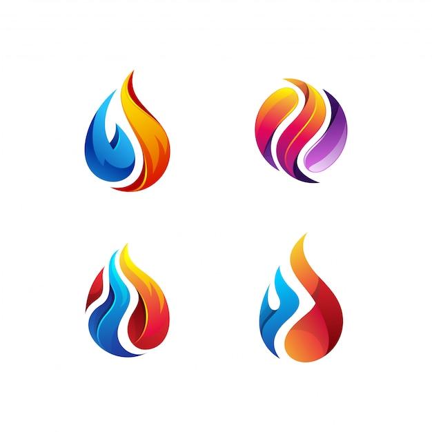 Öl- und gaslogobündel Premium Vektoren