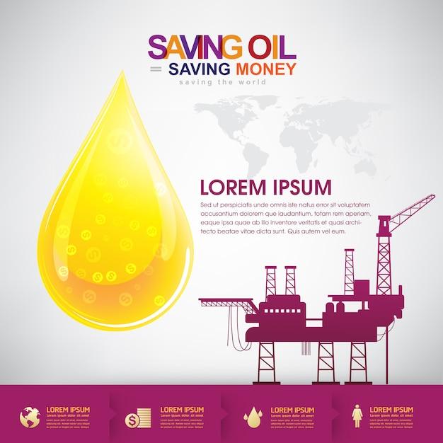Öl-vektor-konzept, das geld spart Premium Vektoren