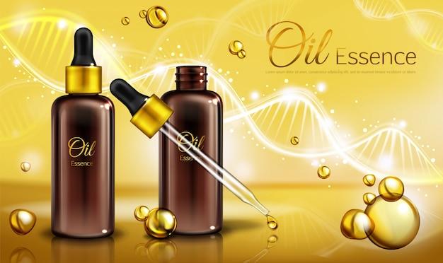 Ölessenz in braunen glasflaschen mit pipette und gelbe flüssigkeit in tröpfchen, flecken. Kostenlosen Vektoren
