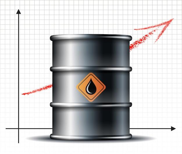 Ölfasspreis steigt chart und schwarzmetallölfass mit schwarzölabfall. petroleum infografik. ölmarkttrend. Premium Vektoren