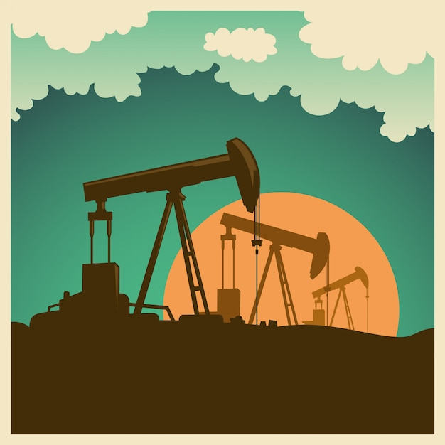 Ölfeld abbildung Premium Vektoren