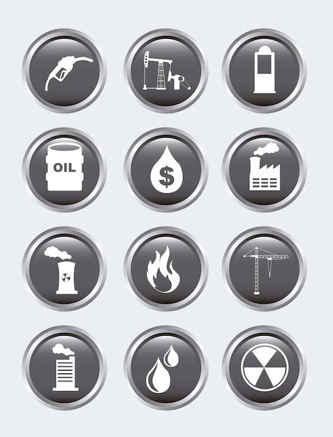 Ölikonen über grauer hintergrundvektorillustration Premium Vektoren