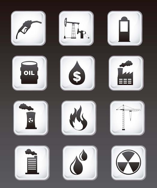 Ölikonen über schwarzer hintergrundvektorillustration Premium Vektoren