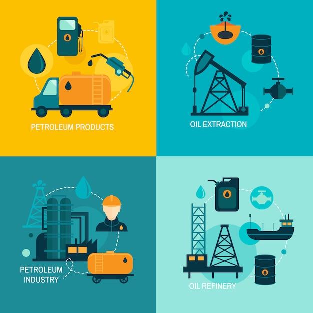 Ölindustrie flache zusammensetzung Premium Vektoren