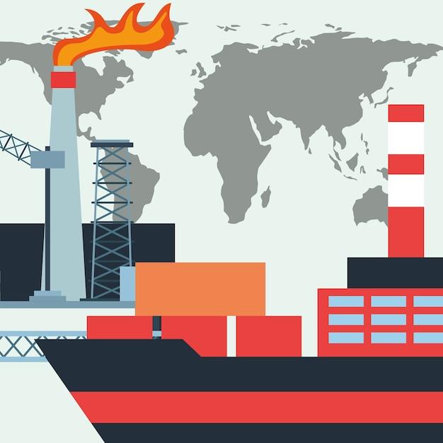 Ölindustrie tankschiff container und fabrikwelt Premium Vektoren
