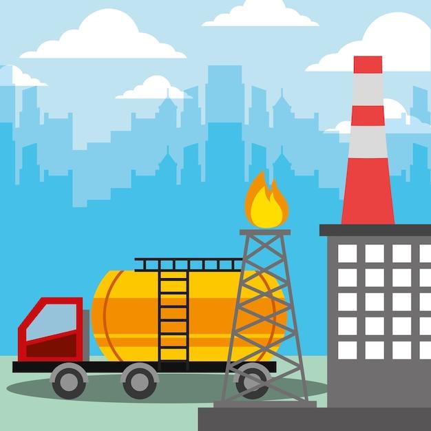 Ölindustrie tankwagen und brennender raffinerieturm Premium Vektoren