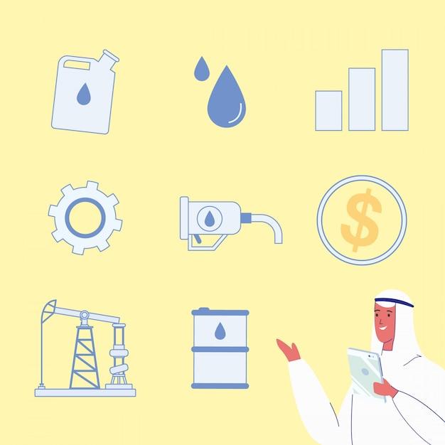 Ölraffinerie-industrie-vektorillustrationen eingestellt Premium Vektoren