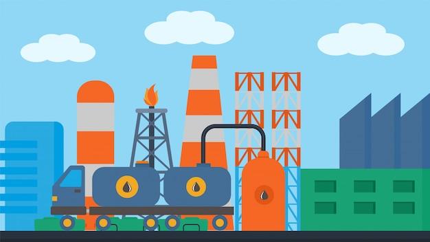 Ölstationszug, fracht auf eisenbahnillustration. schienenverkehr zisternencontainer lieferung, frachtikonenlokomotive. Premium Vektoren