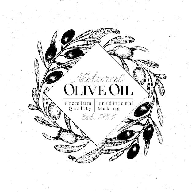 Ölzweig logo vorlage. vektor hand gezeichnete illustration. Premium Vektoren
