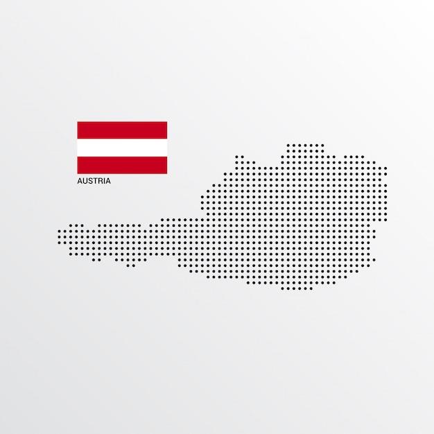 Österreich-kartenentwurf mit flaggen- und hellem hintergrundvektor Kostenlosen Vektoren