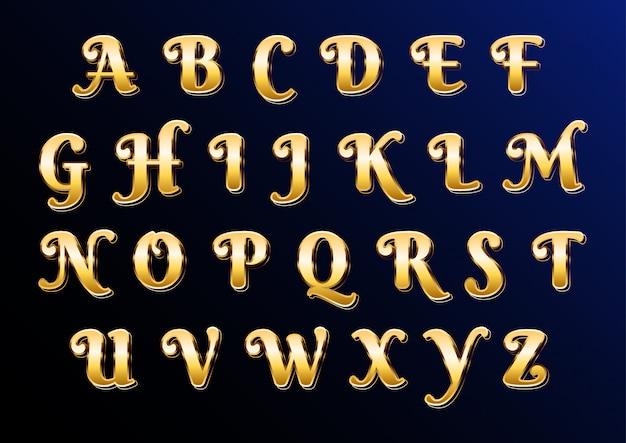 Östliches goldklassisches elegantes alphabet mit buchstaben Premium Vektoren