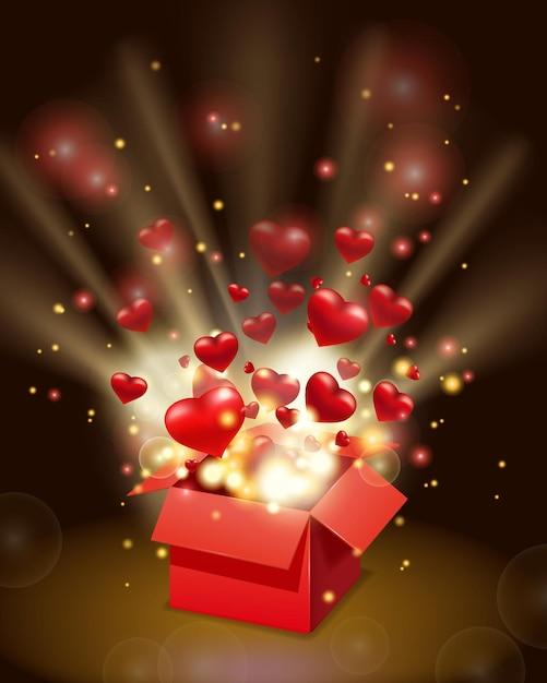 Offene rote geschenkbox mit fliegenden herzen und hellen lichtstrahlen, explosion platzen Premium Vektoren