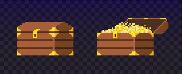 Offene und geschlossene pixel-schatztruhe. kasten gefüllt mit münzen für videospiel. shine goldgeld. reichtum. Premium Vektoren