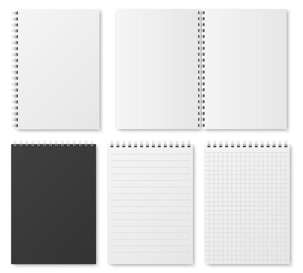 Offene und geschlossene realistische notizbuch-, organisator- und tagebuchschablone des freien raumes Premium Vektoren