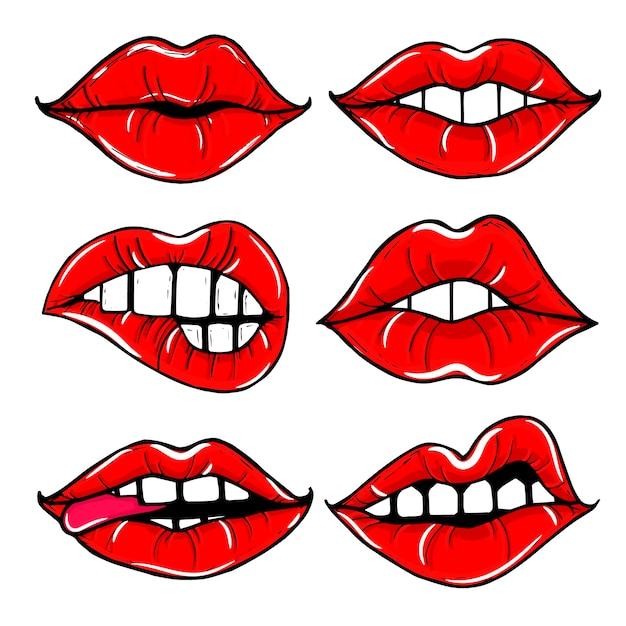 Offener weiblicher mund mit roten lippen. frauenlippen lokalisierten satz Kostenlosen Vektoren