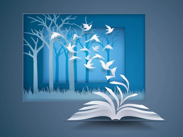 Offenes buch mit vogel fliegt davon, paper pages change, vögel fliegen in den wald Premium Vektoren