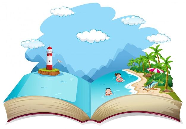 Offenes buch sommer strandurlaub thema Premium Vektoren