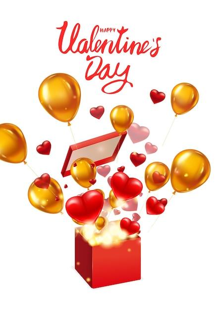 Offenes geschenk zum geschenk zum valentinstag mit fliegenden herzen, goldballons und hellen lichtstrahlen, explosion platzen Premium Vektoren