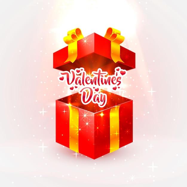 Offenes geschenk zum glücklichen valentinstag. Premium Vektoren