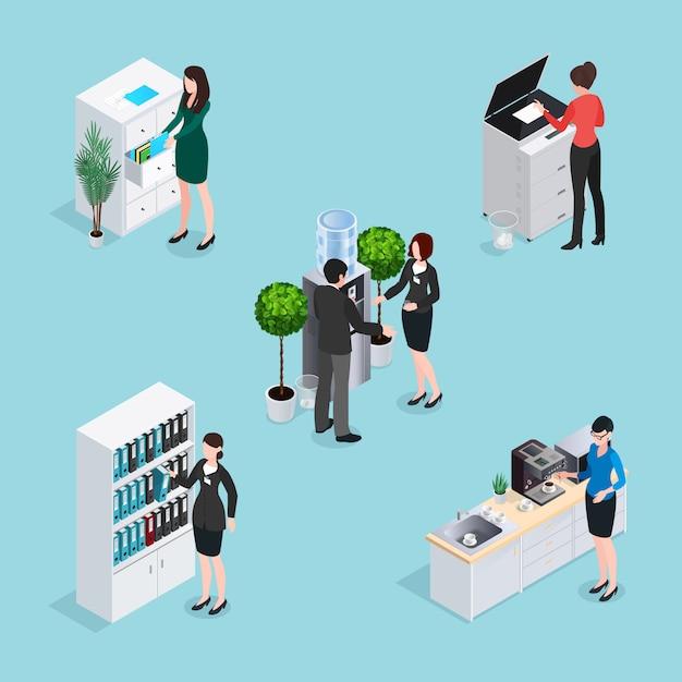 Office life scenes isometric set Kostenlosen Vektoren
