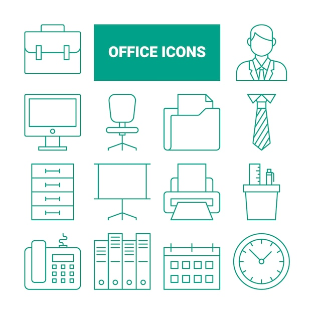 Office-symbole festgelegt Premium Vektoren