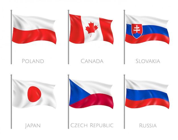 Offizielle flaggen gesetzt mit polen und kanada flaggen realistisch isoliert Kostenlosen Vektoren