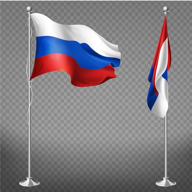 Offizielle nationale trikolore-flagge der russischen föderation Kostenlosen Vektoren