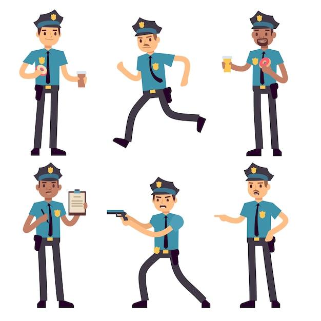 Offizierpolizist-vektorzeichentrickfilm-figuren lokalisiert. streifenpolizisten für polizeikonzept. polizeibeamteperson, charaktersicherheit in der uniform und kappenillustration Premium Vektoren