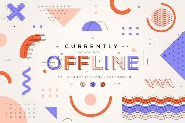Offline zuckendes banner im memphis-stil Kostenlosen Vektoren