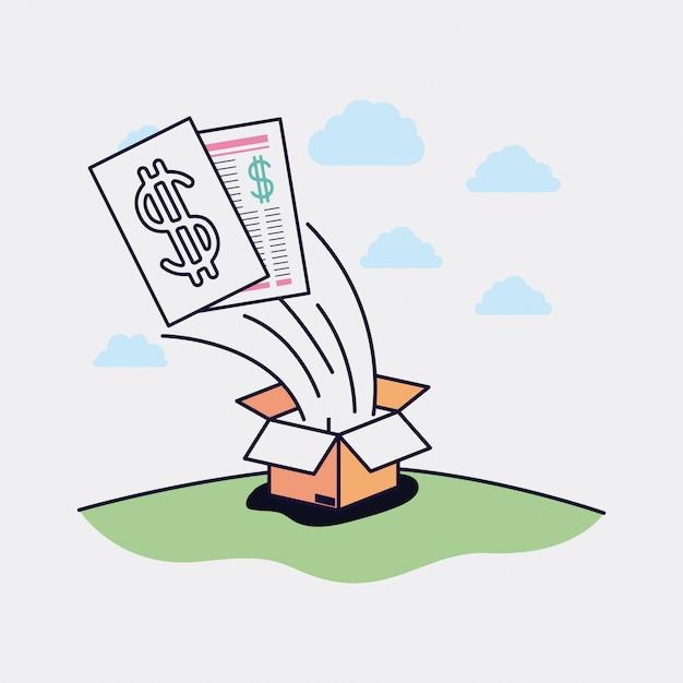 Öffnen Sie Pappschachtel mit kommerziellem Ikonenvektor-Illustrationsdesign Premium Vektoren