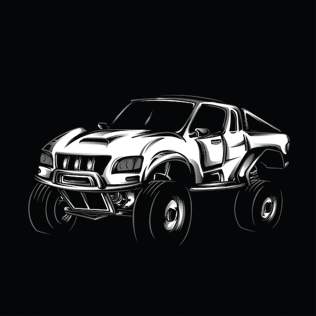 Offroad-modifikations-schwarzweiß-illustration Premium Vektoren