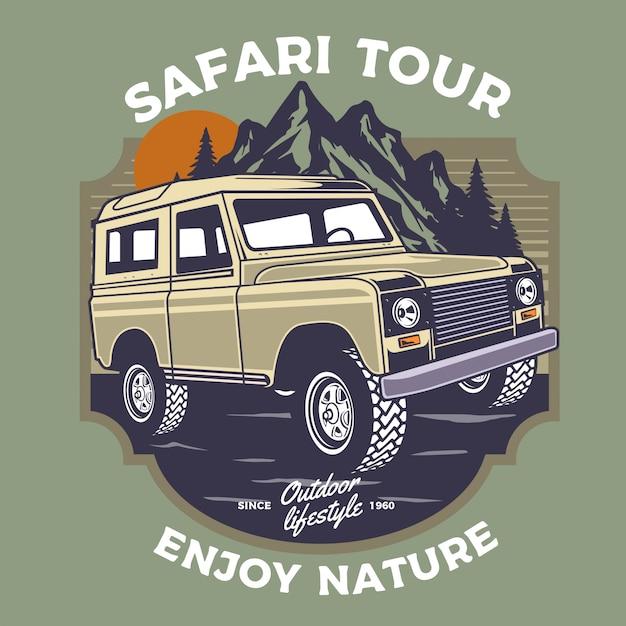 Offroad safari auto abbildung Premium Vektoren