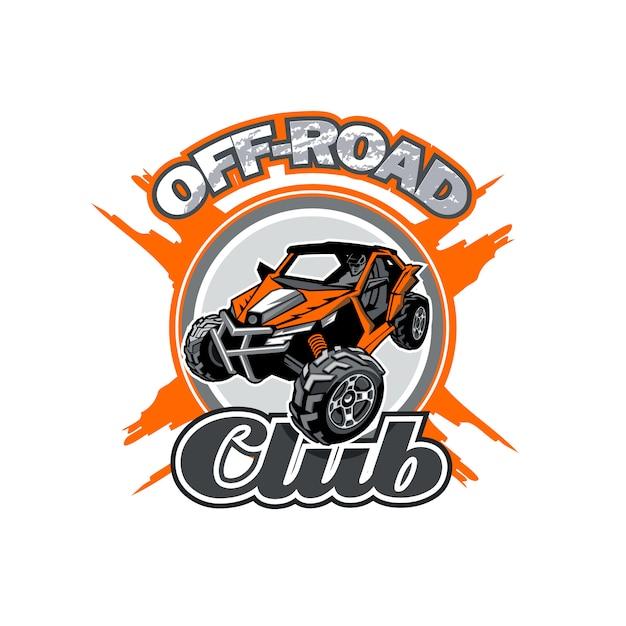 Offroad utv club logo mit orangem buggy in der mitte Premium Vektoren