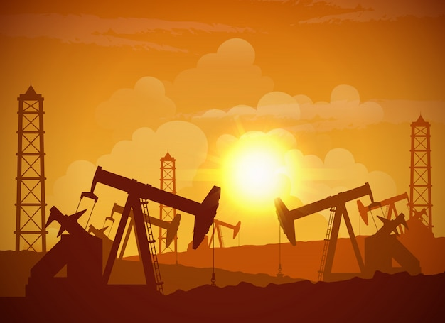 Oilfield poster Kostenlosen Vektoren