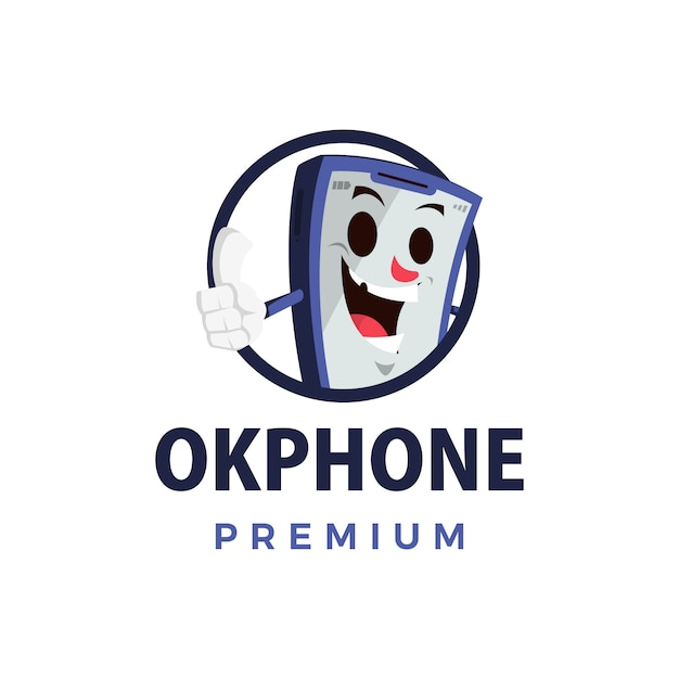 Ok telefon schlag auf maskottchen charakter logo symbol illustration Premium Vektoren