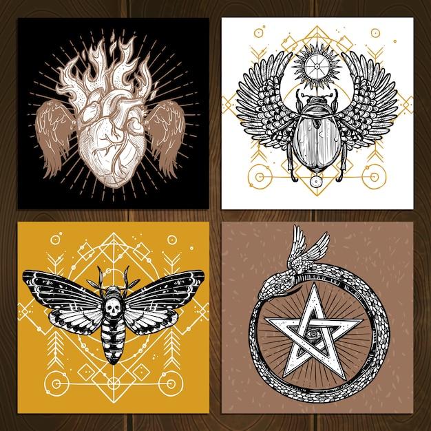Okkultes tattoo set Kostenlosen Vektoren