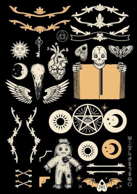 Okkultismus set mit pentagramm, voodoo-puppe, menschlichem schädel mit altem buch, flügeln, krähenschädel und alchemistischen symbolen. illustration. Premium Vektoren