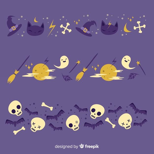 Okkultist und vollmondnacht-halloween-grenze Kostenlosen Vektoren
