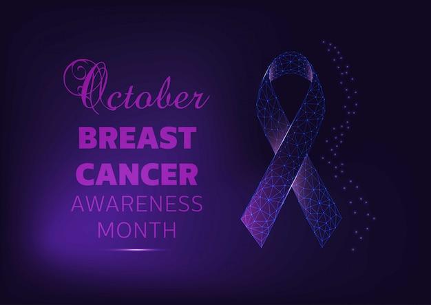Oktober - brustkrebs-bewusstseinsmonats-kampagnenfahnenschablone mit glühendem band auf dunkelblauem hintergrund. Premium Vektoren