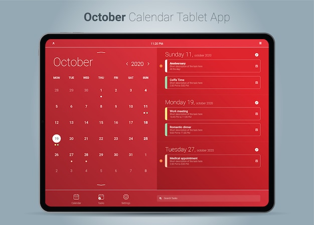 Oktober kalender tablet app-oberfläche Premium Vektoren