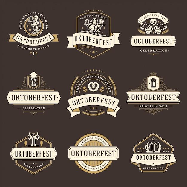 Oktoberfest-abzeichen und etiketten oder logo set vintage Premium Vektoren