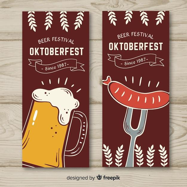 Oktoberfest banner hand gezeichnet Kostenlosen Vektoren